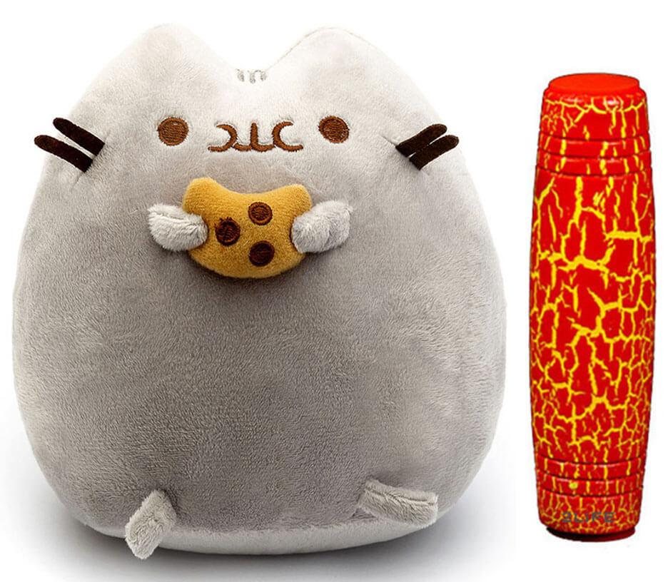 Комплект Мягкая игрушка кот с печеньем Pusheen cat и Антистресс игрушка Mokuru (n-723)