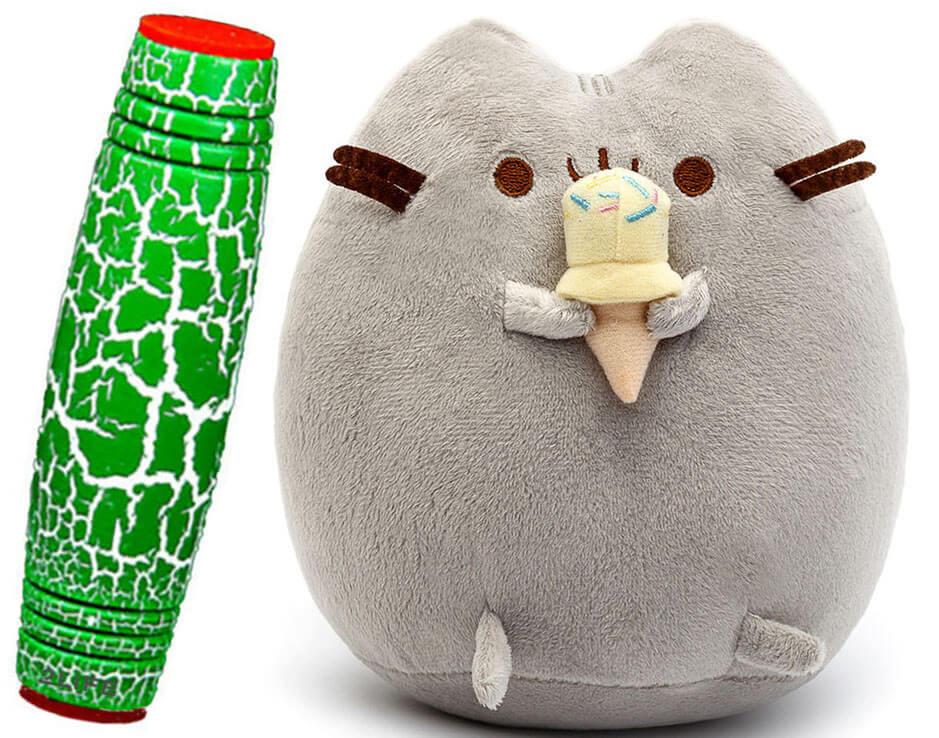 Комплект Мягкая игрушка кот с мороженым Pusheen cat и Антистресс игрушка Mokuru (n-724)