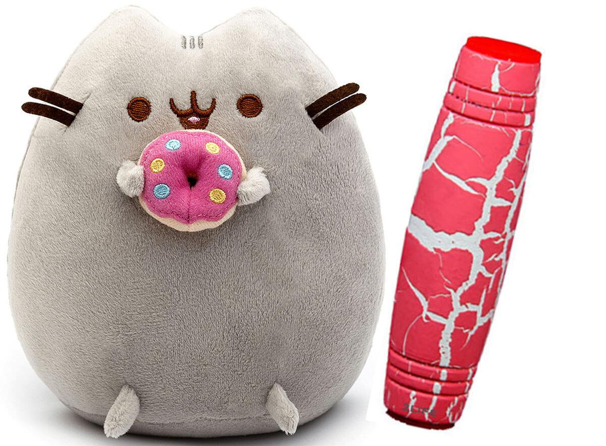 Комплект Мягкая игрушка кот с пончиком Pusheen cat и Антистресс игрушка Mokuru (n-727)