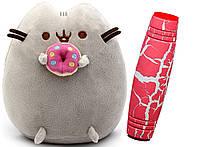 Комплект Мягкая игрушка кот с пончиком Пушин кэт и Антистресс игрушка Mokuru (vol-727)