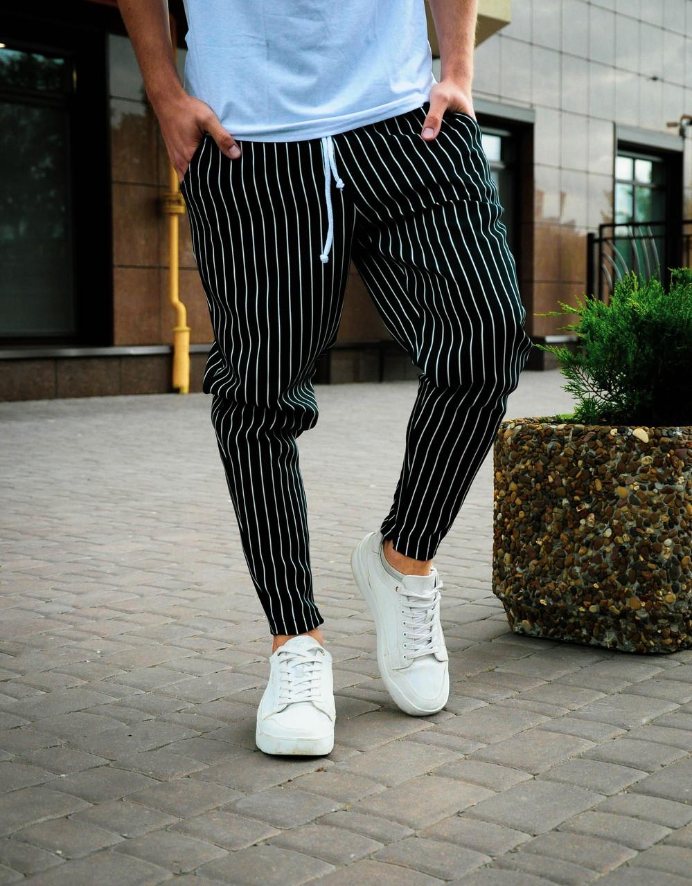 Мужские брюки классические в полоску