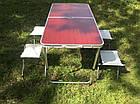 Раскладной туристический стол для пикника 120 см со 4 стульями, алюминиевый, фото 4