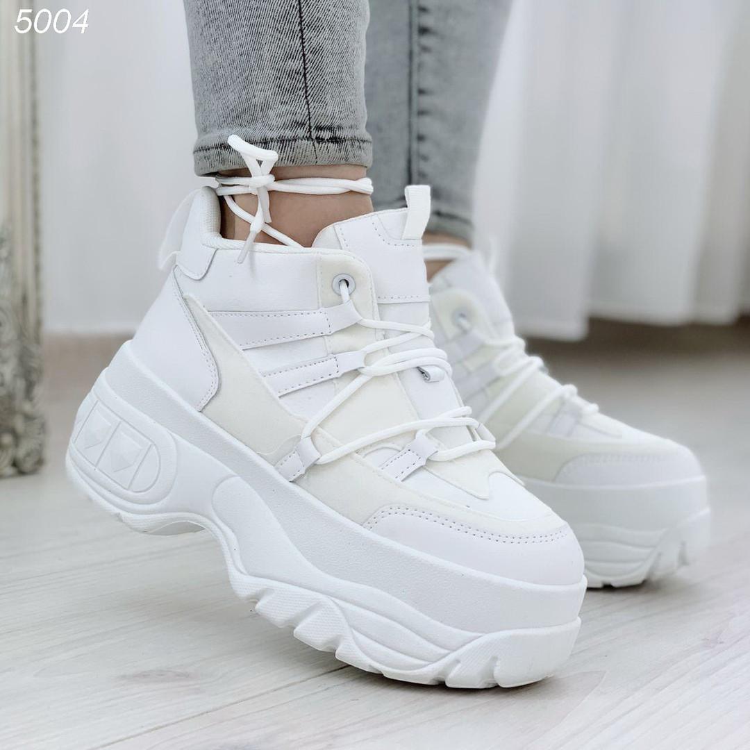 Кроссовки спортивные высокие женские белые эко кожа эко замша