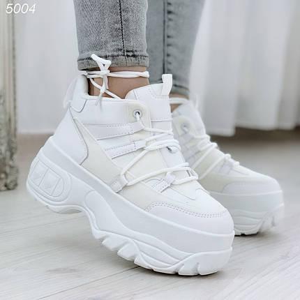 Кроссовки спортивные высокие женские белые эко кожа эко замша, фото 2