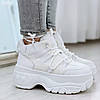 Кроссовки спортивные высокие женские белые эко кожа эко замша, фото 3