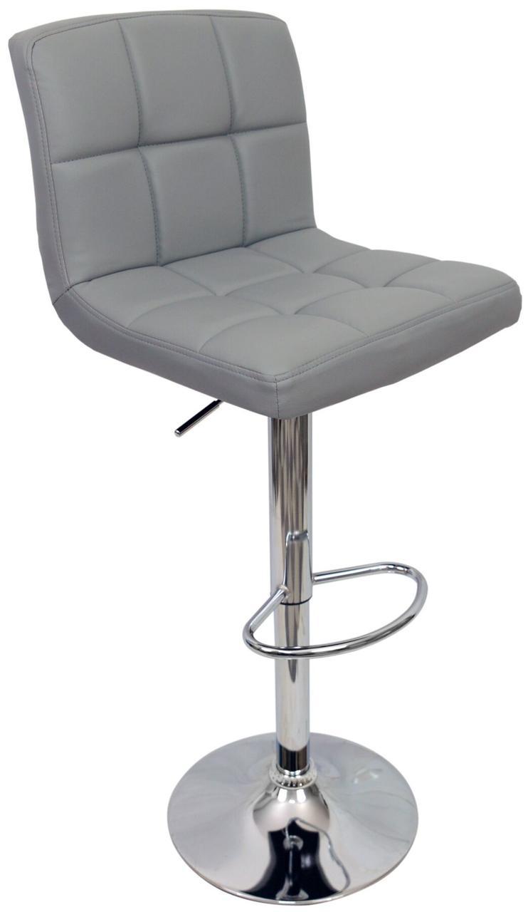 Барный стул хокер металический с нагрузкой до 120 кг мягкий с оборотом на 360 градусов серый