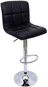 Барний стілець хокер хромований з навантаженням до 120 кг м'який гумовим покриттям чорний