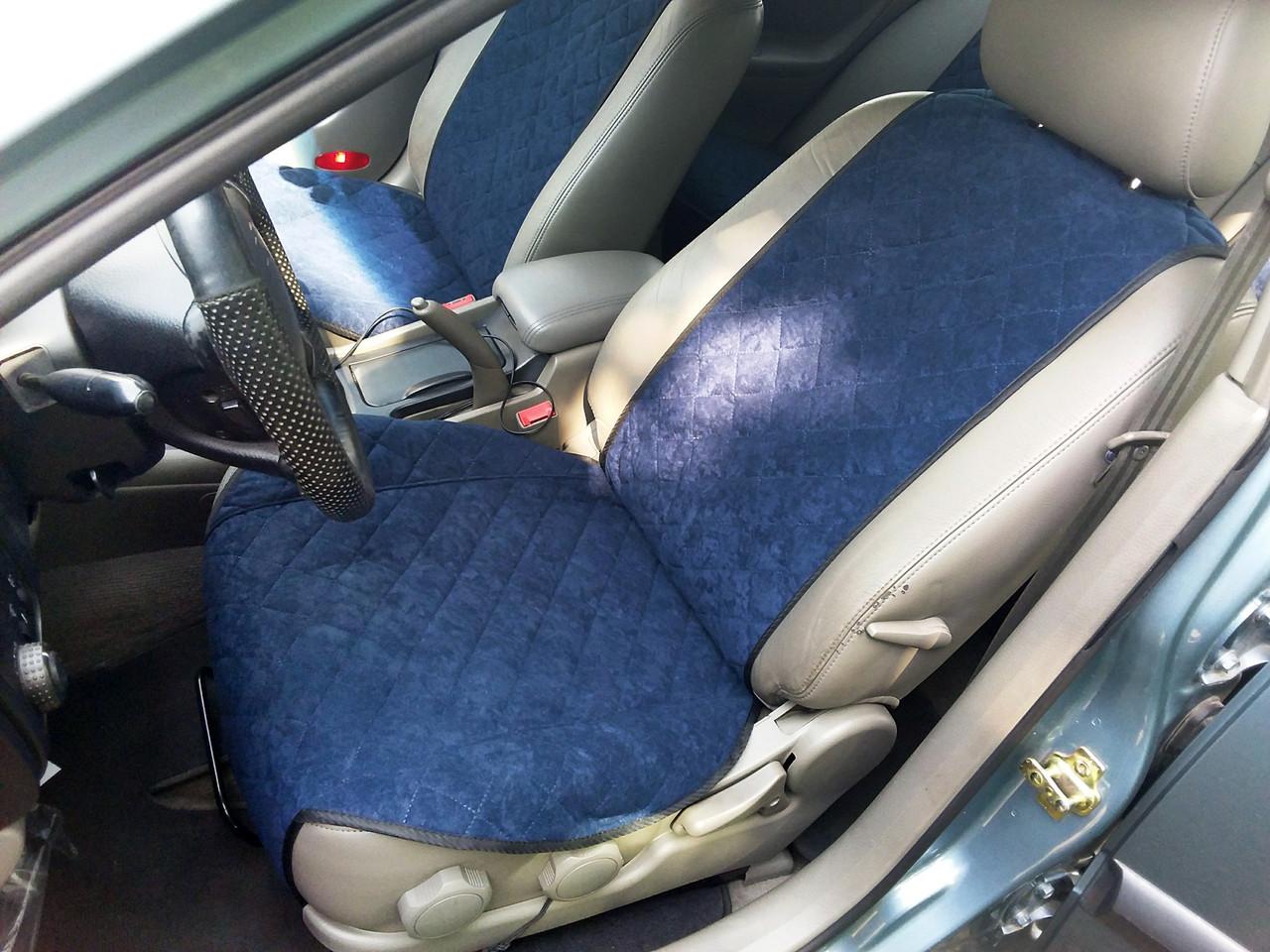 Накидки на сиденья Темно-синие Широкие. Полный комплект из алькантары