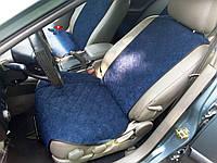 Накидки на сиденья Темно-синие Широкие. Полный комплект из алькантары, фото 1