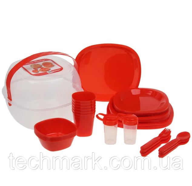 Столовый набор для пикника 48 предмета Picnic Package 48-ОМ красный