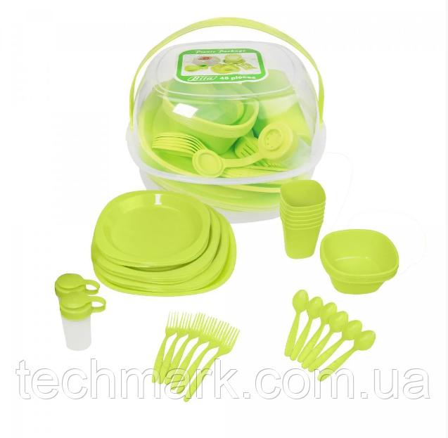 Столовый набор для пикника 48 предмета Picnic Package 48-ОМ зеленый