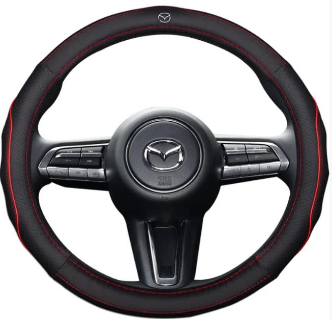 Чехол оплетка на руль кожаная для автомобиля с логотипом Mazda натуральная кожа Черный с красной прошивкой