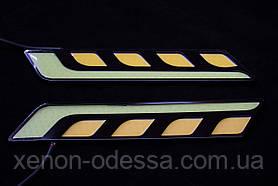 LED COB DRL 17 см Белые + Желтые, фото 3