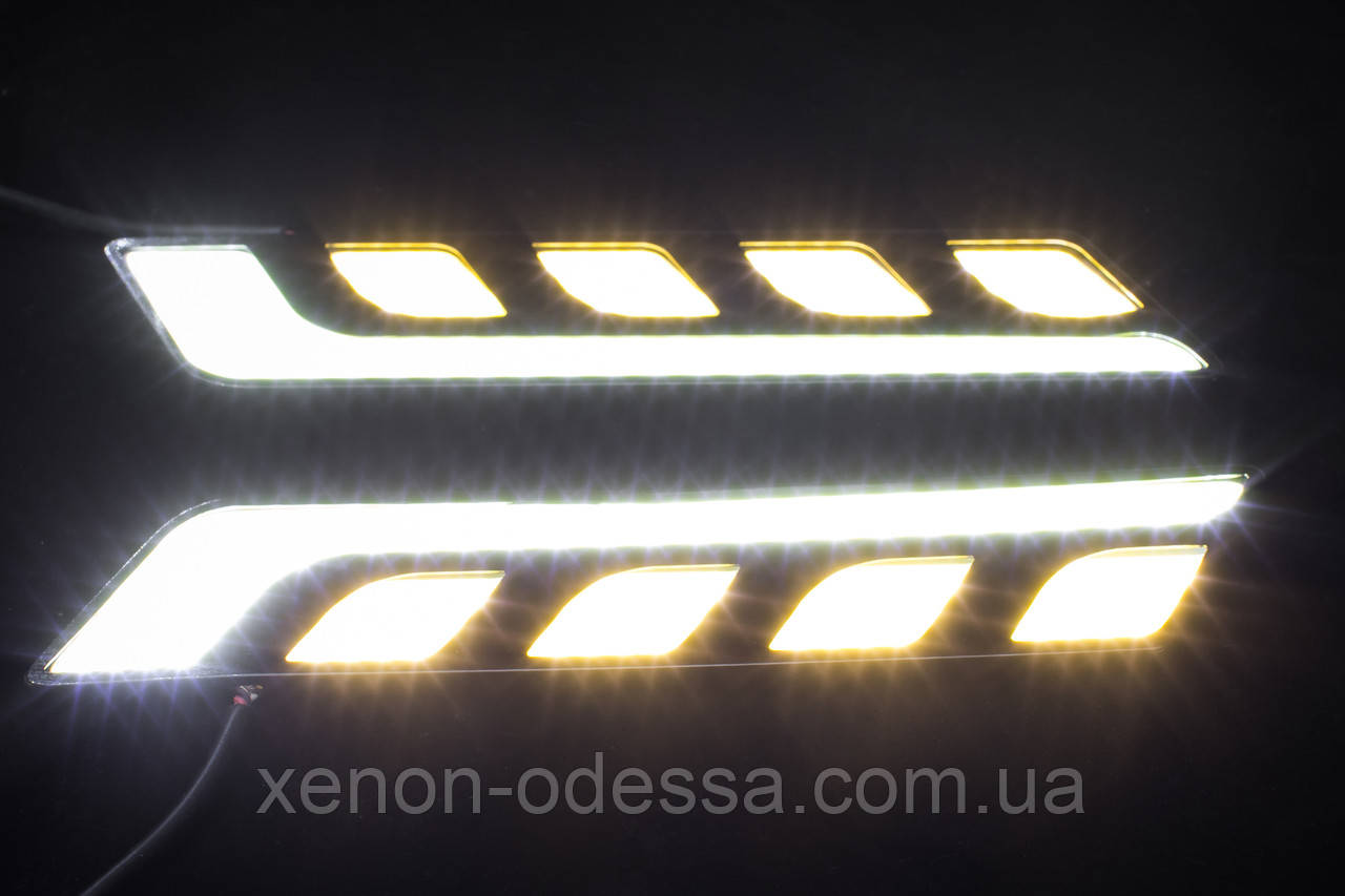 LED COB DRL 17 см Белые + Желтые