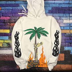 Толстовка белая Palm Angels Palm | худи Палм Анжелс | Палм Ангелс кенгуру