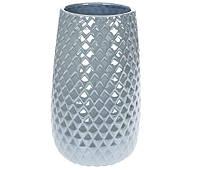 Ваза керамическая Ромб серо-голубая, 24,5 см