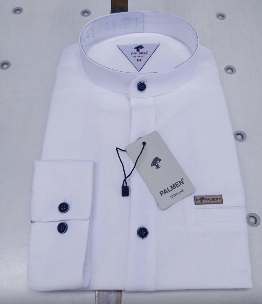 Льняная белая рубашка Palmen (slim-стойка)