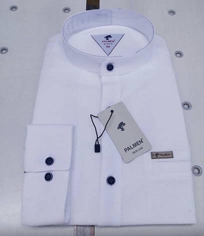 Льняная белая рубашка Palmen (slim-стойка), фото 2