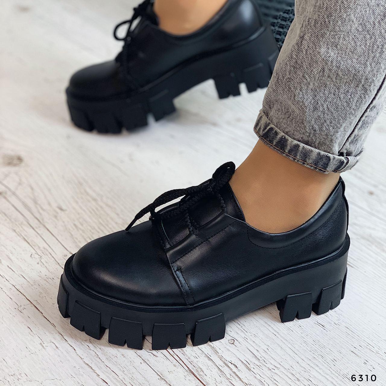 Туфли женские черные на платформе из НАТУРАЛЬНОЙ КОЖИ. Туфлі жіночі чорні на платформі з натуральної шкіри