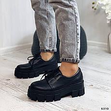 Туфли женские черные на платформе из НАТУРАЛЬНОЙ КОЖИ. Туфлі жіночі чорні на платформі з натуральної шкіри, фото 2