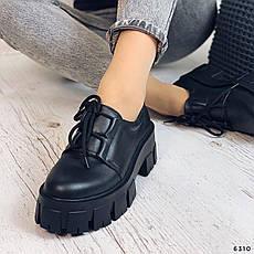 Туфли женские черные на платформе из НАТУРАЛЬНОЙ КОЖИ. Туфлі жіночі чорні на платформі з натуральної шкіри, фото 3