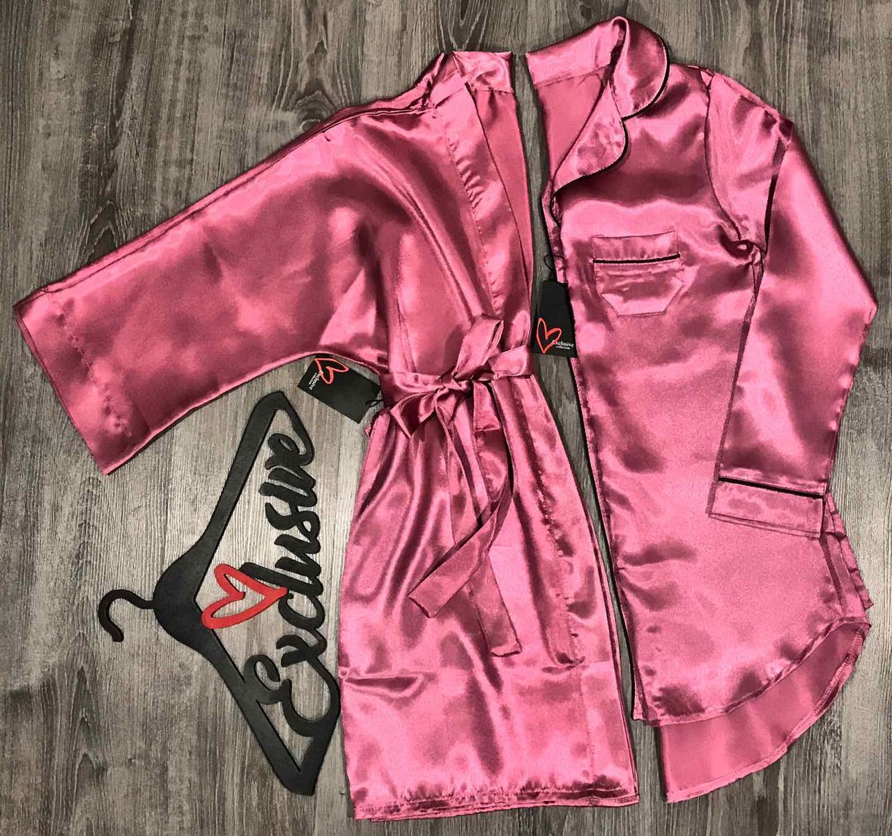 Женская домашняя одежда, атласный комплект халат и рубашка ТМ Exclusive.