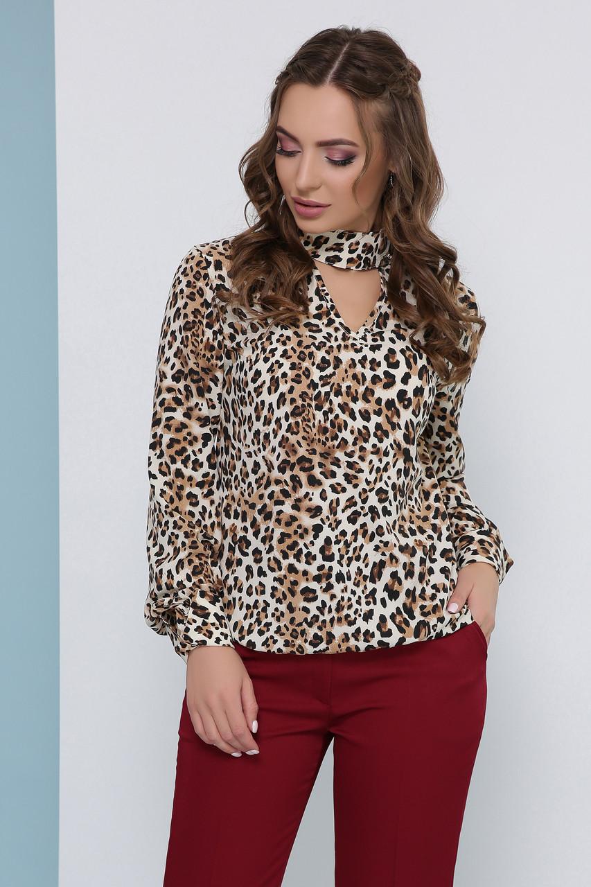 Блузка женская бежевая летняя с длинным рукавом. Ткань супер софт. Повседневная, офисная легкая блуза