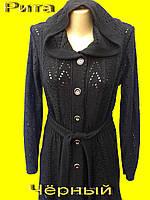 Ажурная вязаная женская кофта - кардигпн. Рита чёрный»
