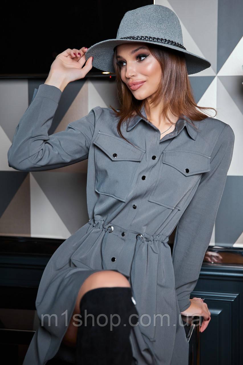 Расклешенное приталенное однотонное женское платье-рубашка (1623.4239-4241-4240 svt)