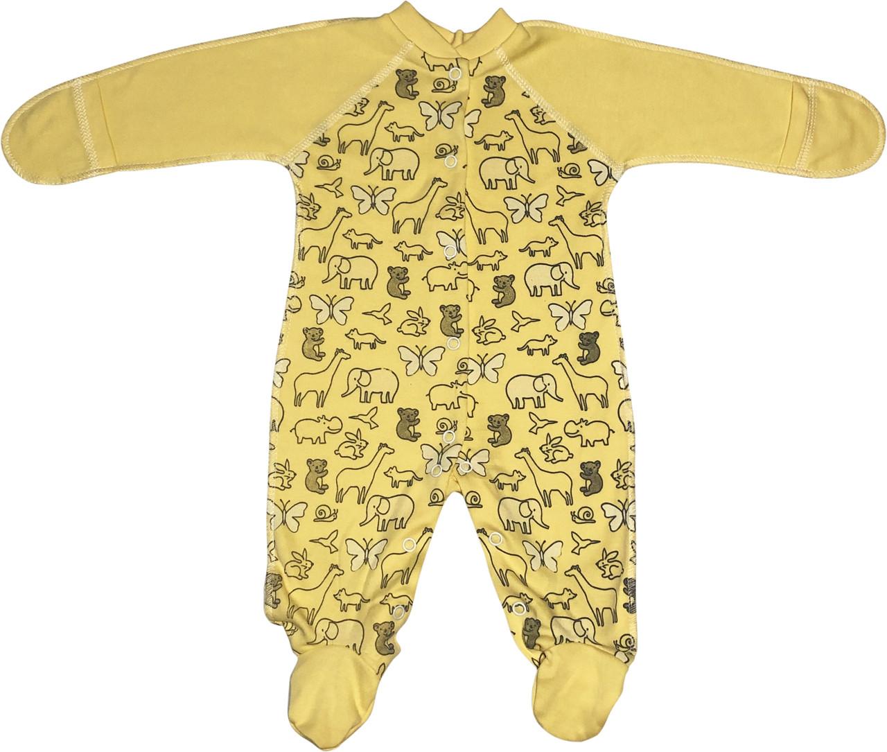 Человечек для новорожденных рост 56 0-2 мес на мальчика девочку слип с закрытыми ручками трикотажный жёлтый
