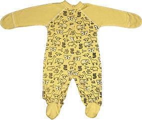 Детский человечек рост 56 0-2 мес трикотажный интерлок жёлтый на мальчика девочку слип с закрытыми ручками для новорожденных малышей Ж066