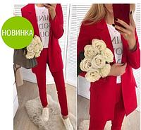 """Модный женский красный костюм брючный """"Romano"""""""