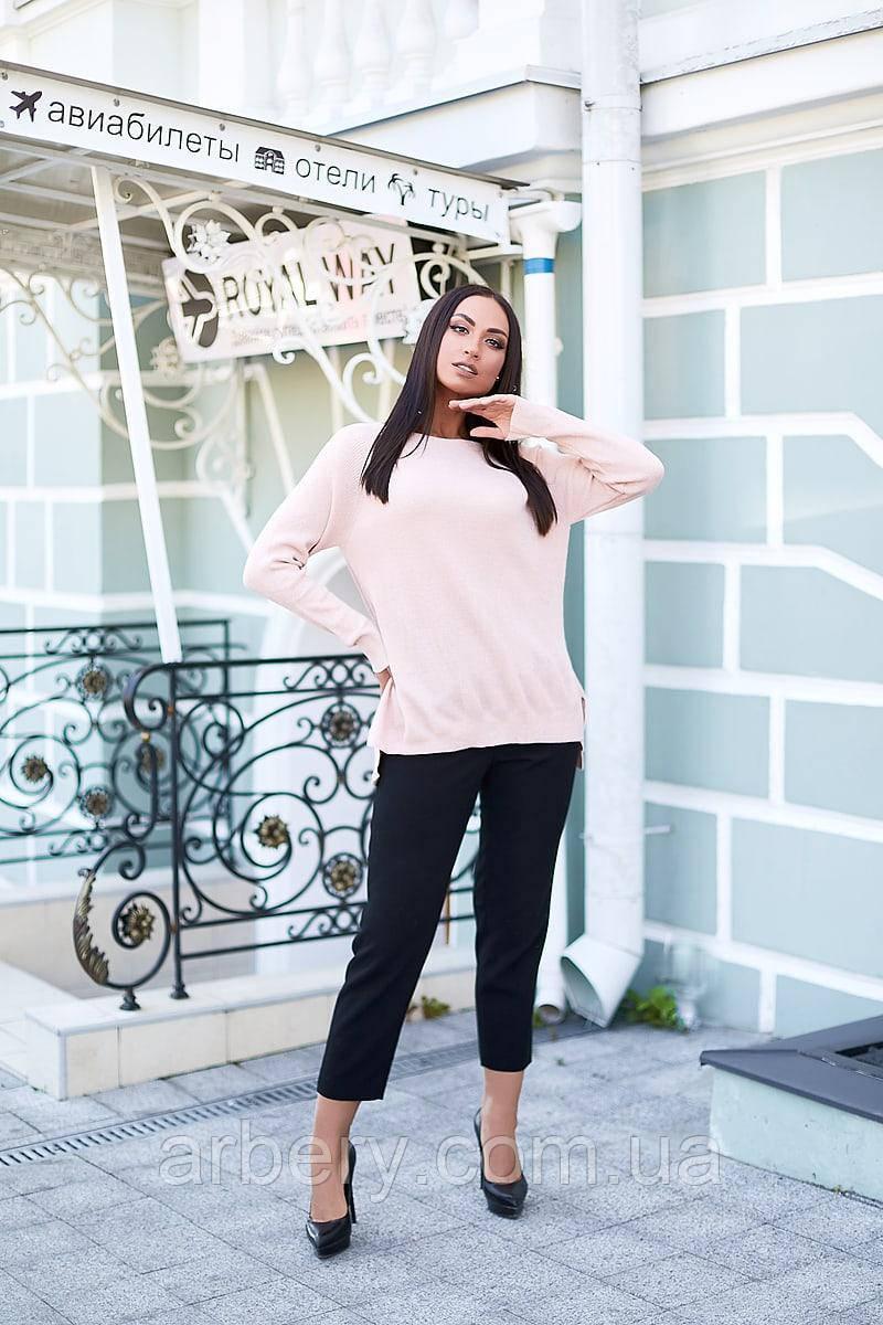 Женский батальный свитер асимметрия