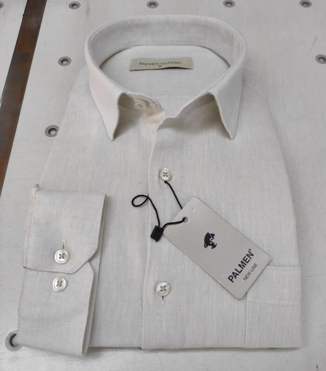 Белая рубашка с длинным рукавом 100% ЛЁН Palmen