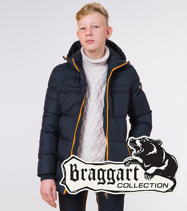 Braggart Kids | Куртка зимняя детская 65122 темно-синяя