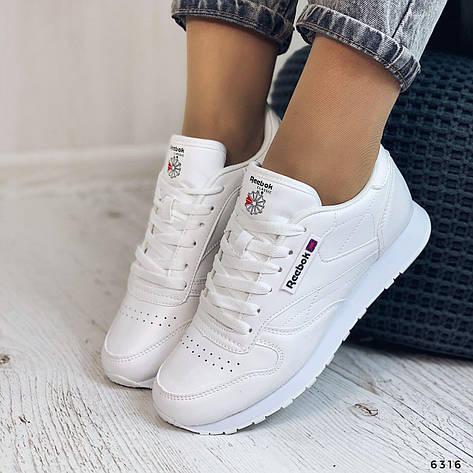 Кроссовки женские белые из эко кожи в стиле Reebok. Кросівки жіночі білі, фото 2