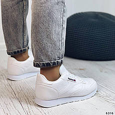 Кроссовки женские белые из эко кожи в стиле Reebok. Кросівки жіночі білі, фото 3