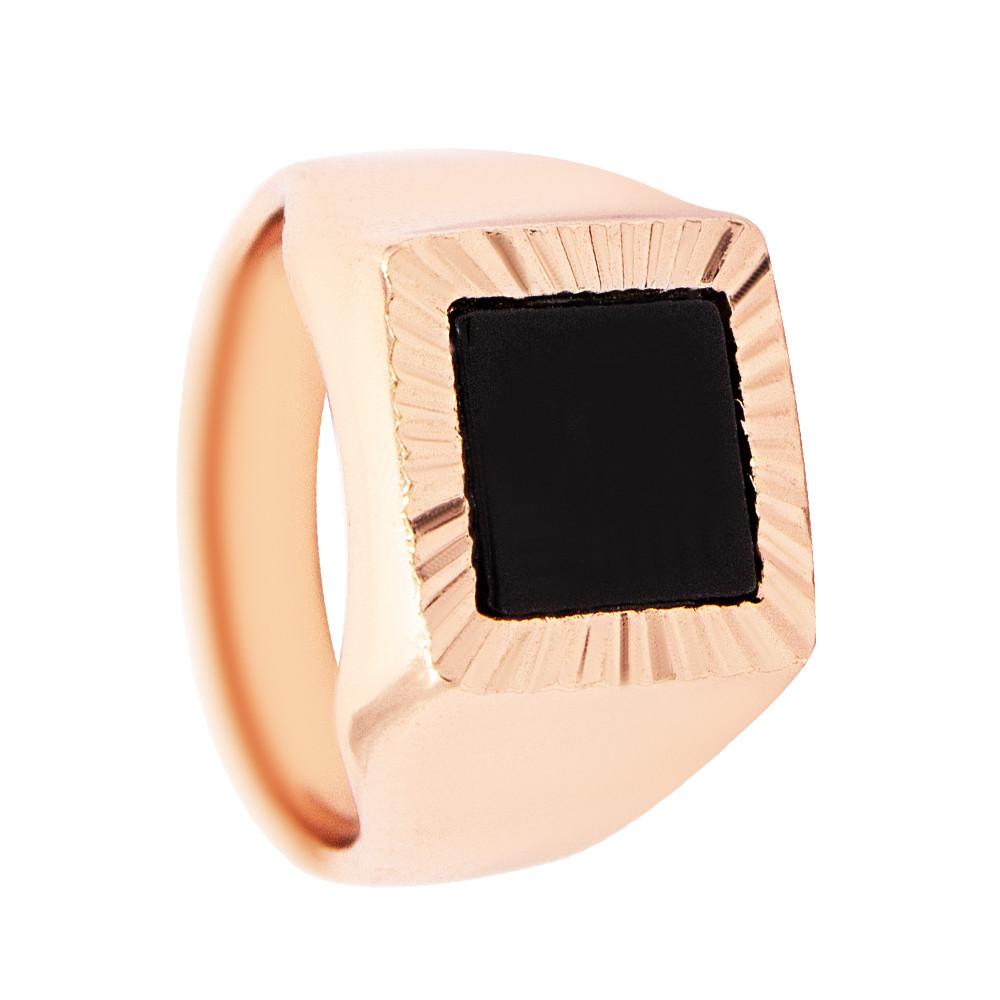 Печатка мужская с чёрной эмалью (Медицинское золото)