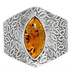 Серебряное кольцо с янтарем, 2476КЦЯ