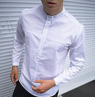 Рубашка мужская молодежная приталенная без воротника классика Турция белая. Живое фото. Чоловіча сорочка