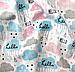 """Ткань хлопковая, муслин однослойный """"тучки голубые, розовые, серые с буквами на белом"""", фото 2"""