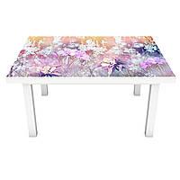 Виниловая наклейка на стол Полевые цветы Велосипед (интерьерная ПВХ пленка для мебели) поле Розовый 600*1200 мм