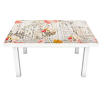 Виниловая наклейка на стол Цветы и Акварель (интерьерная ПВХ пленка для мебели) дома букеты Серый 600*1200 мм