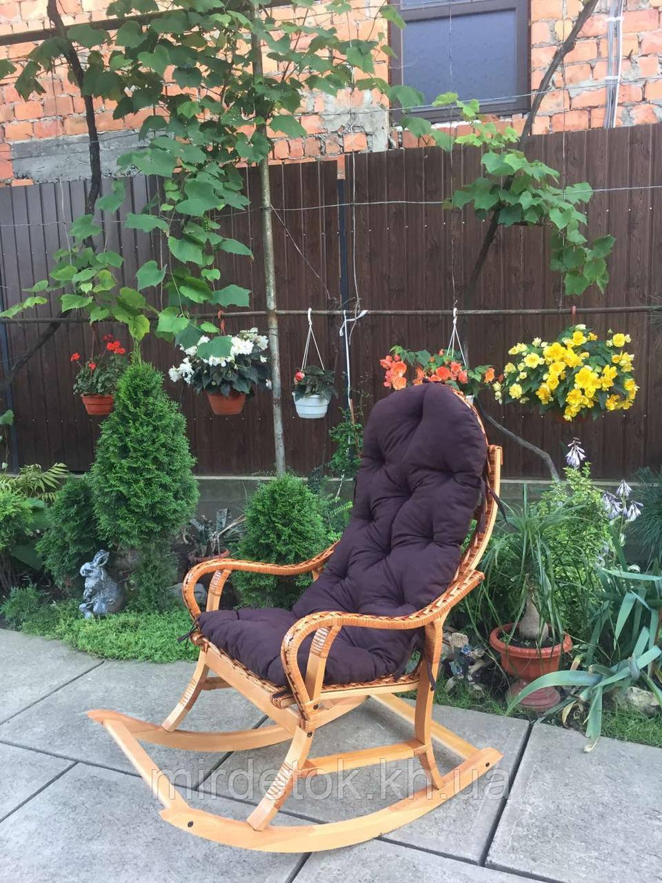 Кресло качалка Классик  натуральная с полозьями из бука до 150 кг