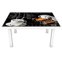 Виниловая наклейка на стол Выпей Кофе (интерьерная ПВХ пленка для мебели) чашки зерна Черный 600*1200 мм