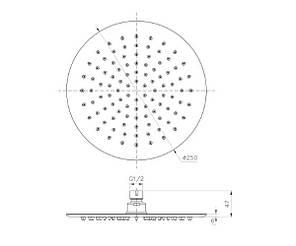 Лійка для верхнього душу IMPRESE S250SS6 хром, фото 2