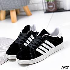 Кроссовки женские черные из эко замши в стиле Adidas. Кросівки жіночі чорні, фото 2