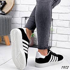 Кроссовки женские черные из эко замши в стиле Adidas. Кросівки жіночі чорні, фото 3