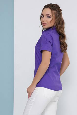 Блузка женская фиолетовая летняя с коротким рукавом. Ткань стрейч + коттон. Повседневная, офисная легкая блуза, фото 2