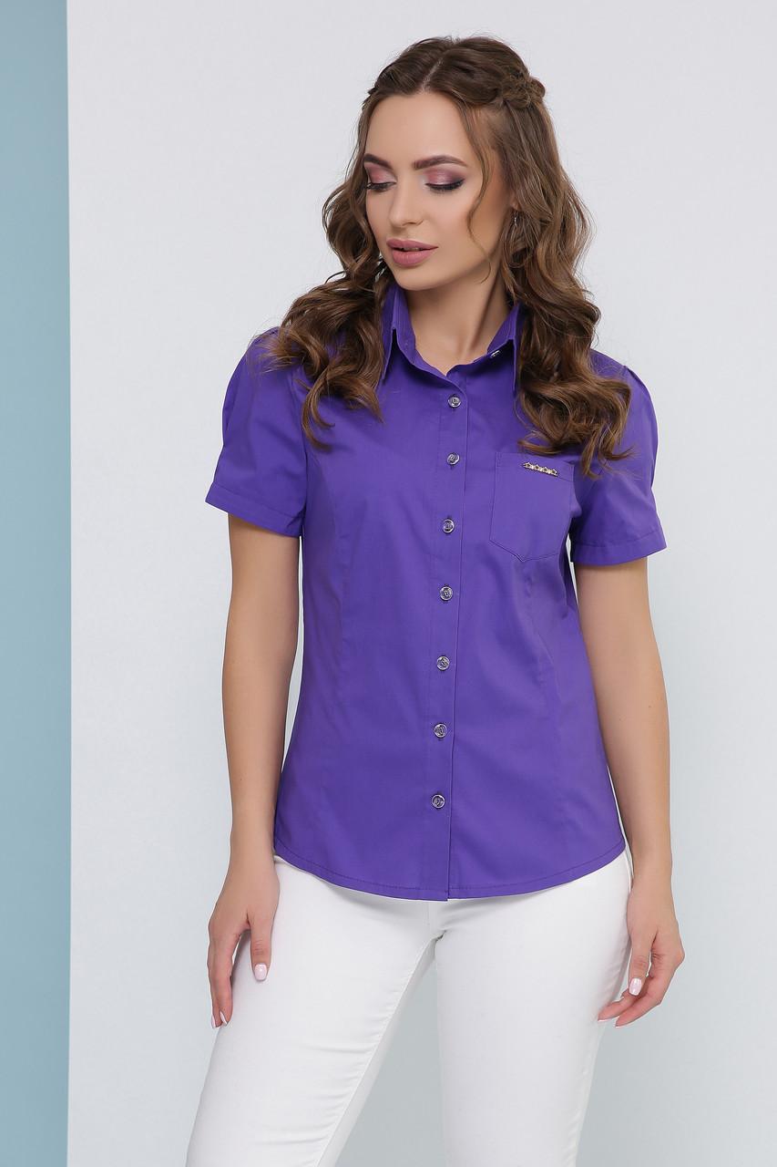 Блузка женская фиолетовая летняя с коротким рукавом. Ткань стрейч + коттон. Повседневная, офисная легкая блуза